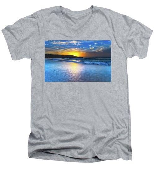 Bold And Blue Sunrise Seascape Men's V-Neck T-Shirt
