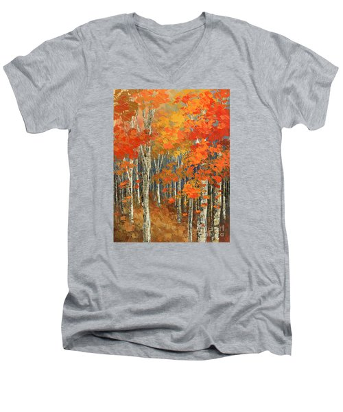 Men's V-Neck T-Shirt featuring the painting Bold Banners by Tatiana Iliina