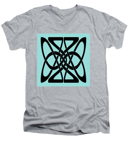 Men's V-Neck T-Shirt featuring the digital art Bold Black Celtic Knot by Jane McIlroy