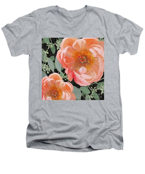 Men's V-Neck T-Shirt featuring the painting Bold Peony Seeded Eucalyptus Leaves by Audrey Jeanne Roberts