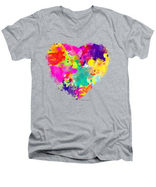 Bold Watercolor Heart - Tee Shirt Design Men's V-Neck T-Shirt by Debbie Portwood