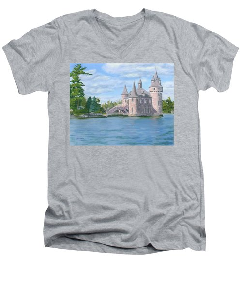 Men's V-Neck T-Shirt featuring the painting Boldt's Power House by Lynne Reichhart