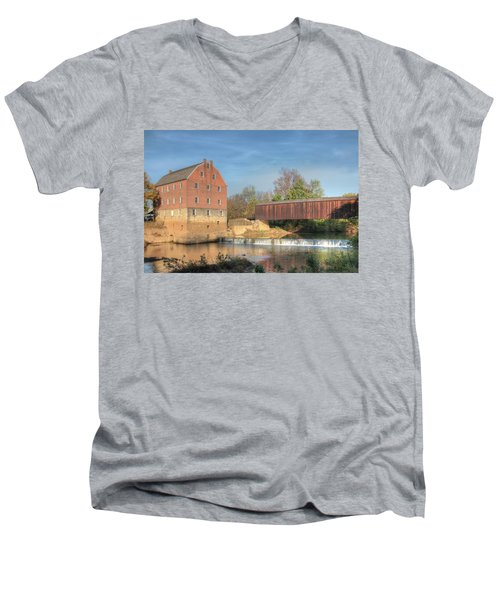 Bollinger Mill And Burfordville Covered Bridge Men's V-Neck T-Shirt
