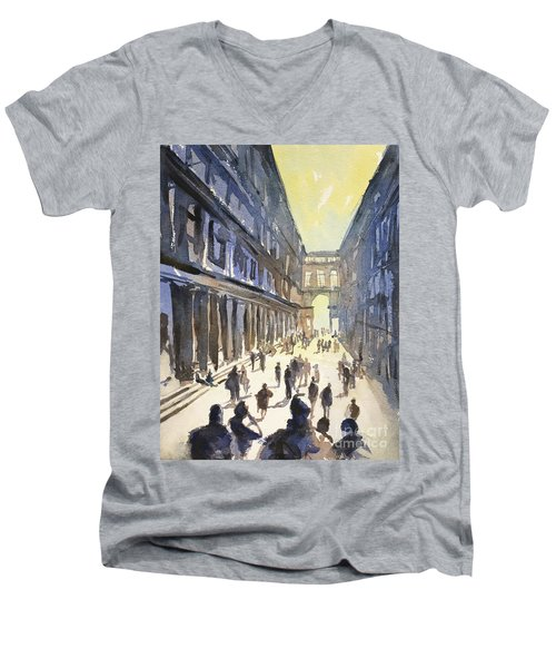 Men's V-Neck T-Shirt featuring the painting Bologna Sunset- Italy by Ryan Fox