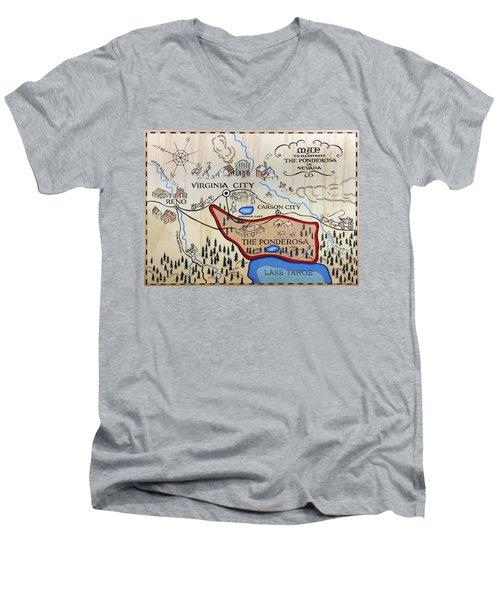 Bonanza Series Ponderosa Map  1959 Men's V-Neck T-Shirt