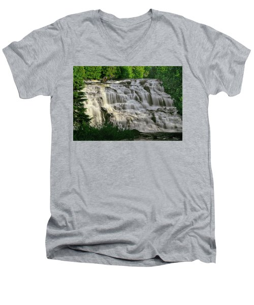 Men's V-Neck T-Shirt featuring the photograph Bond Falls - Haight - Michigan 001 by George Bostian