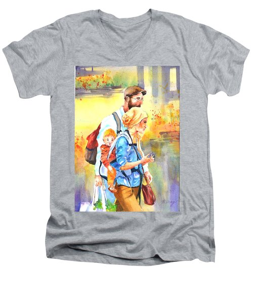 Bonding #5 Men's V-Neck T-Shirt by Betty M M Wong
