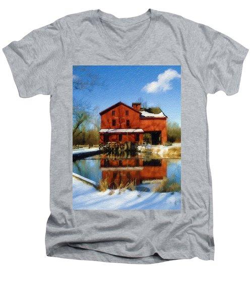 Bonneyville In Winter Men's V-Neck T-Shirt by Sandy MacGowan