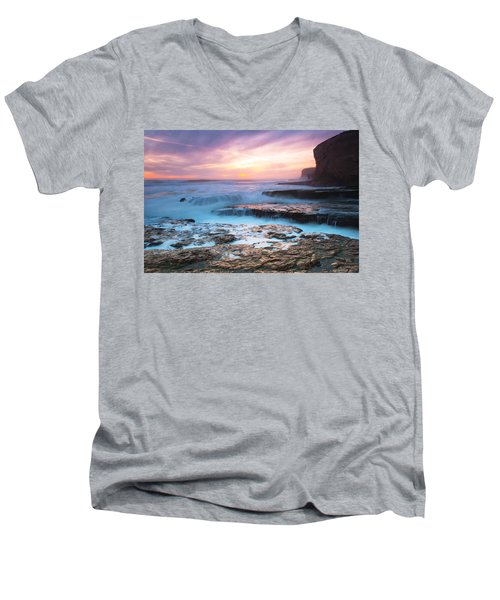 Men's V-Neck T-Shirt featuring the photograph Bonny Doon Beach by Catherine Lau