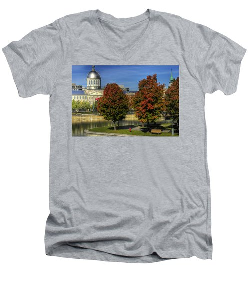 Men's V-Neck T-Shirt featuring the photograph Bonsecours Market by Nicola Nobile