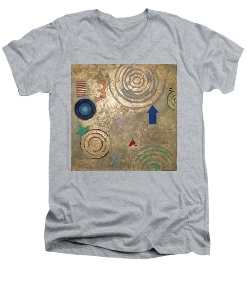 Men's V-Neck T-Shirt featuring the painting Boogie 3 by Bernard Goodman