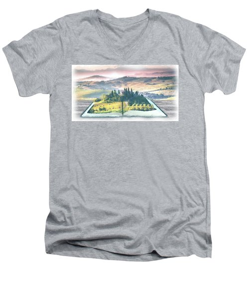 Men's V-Neck T-Shirt featuring the painting Book Life by Harry Warrick