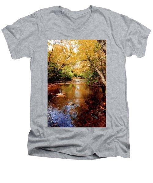 Men's V-Neck T-Shirt featuring the photograph Boone Fork Stream by Meta Gatschenberger