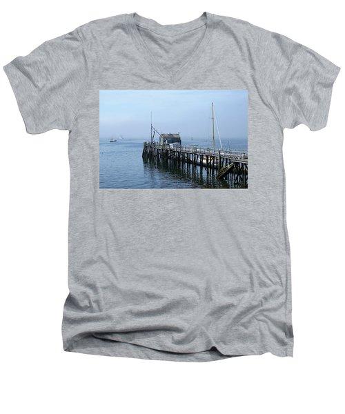 Boothbay Shipyard Dock Men's V-Neck T-Shirt