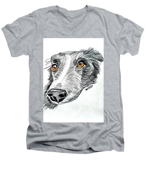 Border Collie Dog Colored Pencil Men's V-Neck T-Shirt by Scott D Van Osdol