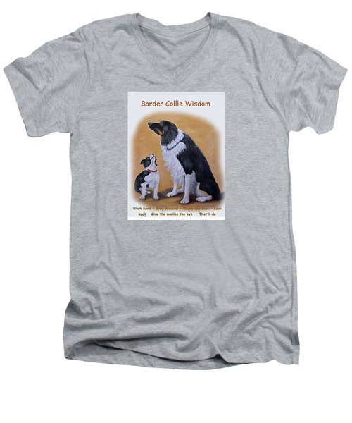 Men's V-Neck T-Shirt featuring the painting Border Collie Wisdom by Fran Brooks