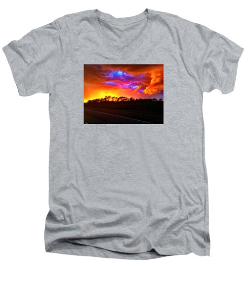 Men's V-Neck T-Shirt featuring the photograph Borderline by Zafer Gurel