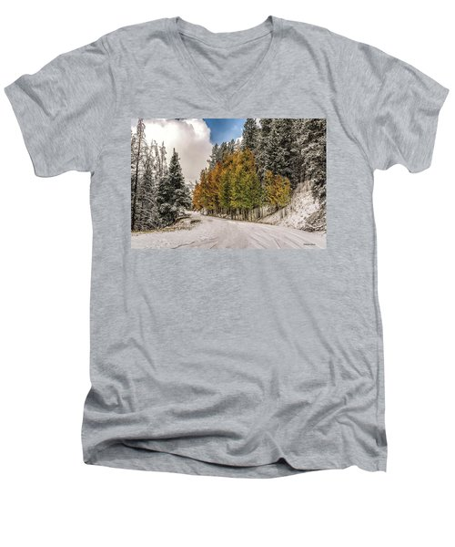 Boreas Pass Road Aspen And Snow Men's V-Neck T-Shirt