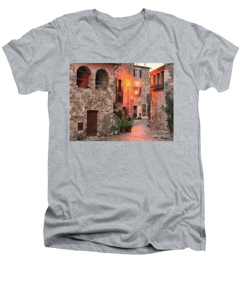 Men's V-Neck T-Shirt featuring the painting Borgo Medievale by Rosario Piazza