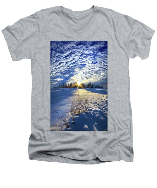 Men's V-Neck T-Shirt featuring the photograph Born As We Are by Phil Koch