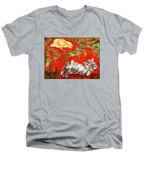 Men's V-Neck T-Shirt featuring the painting Born To Be Wild by Hiroko Sakai