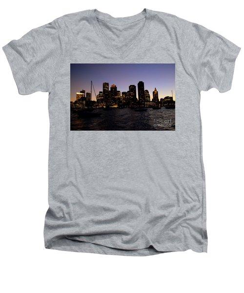 Boston At Night Men's V-Neck T-Shirt