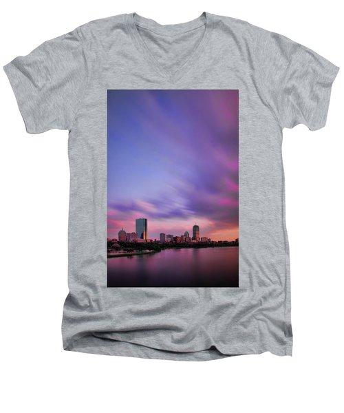 Boston Afterglow Men's V-Neck T-Shirt by Rick Berk