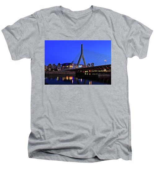 Boston Garden And Zakim Bridge Men's V-Neck T-Shirt