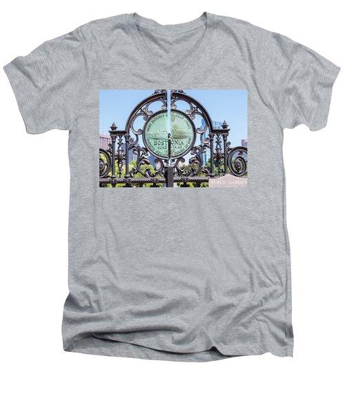 Boston Garden Gate Detail Men's V-Neck T-Shirt