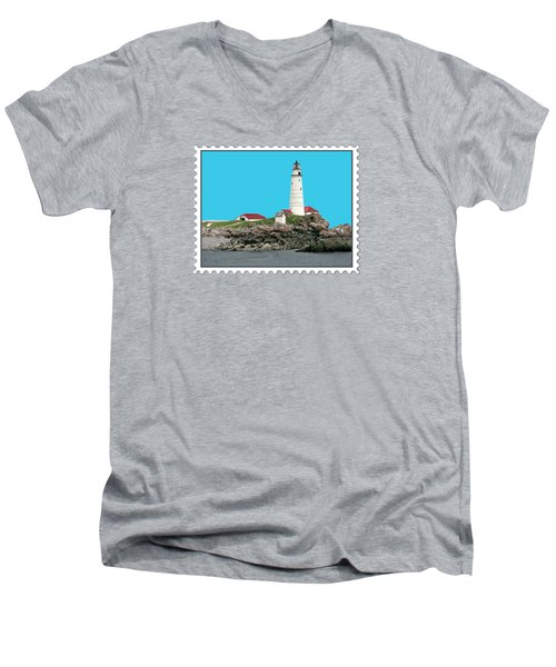Boston Harbor Lighthouse Men's V-Neck T-Shirt by Elaine Plesser
