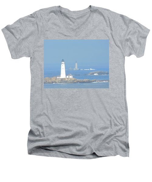 Boston Harbors Lighthouses Men's V-Neck T-Shirt