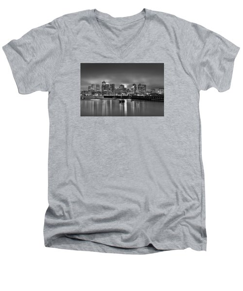 Boston In Black And White Men's V-Neck T-Shirt by Brendan Reals