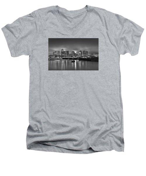 Boston In Black And White Men's V-Neck T-Shirt