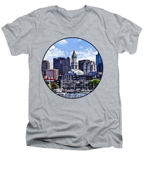 Boston Ma - Skyline With Custom House Tower Men's V-Neck T-Shirt