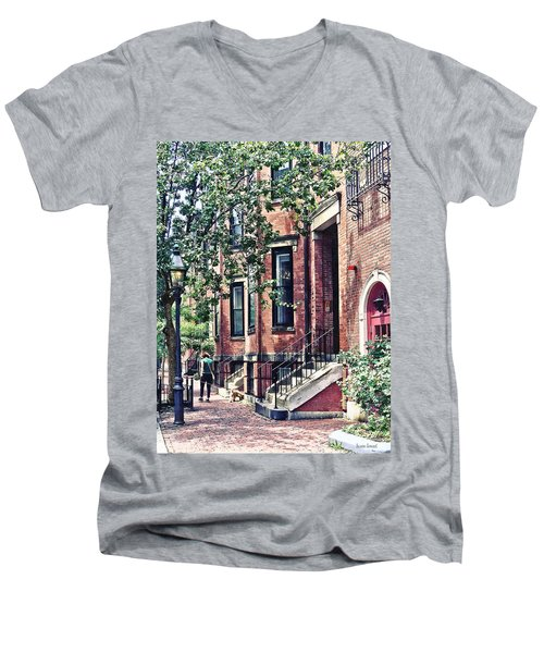 Boston Ma - Walking The Dog On Mount Vernon Street Men's V-Neck T-Shirt