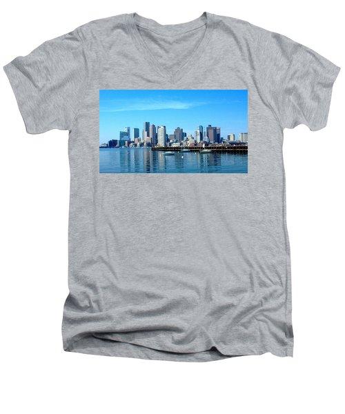 Boston Skyline A Men's V-Neck T-Shirt