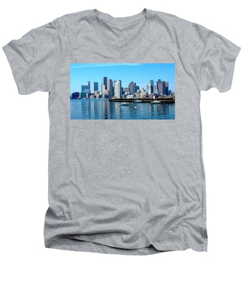 Boston Skyline C Men's V-Neck T-Shirt