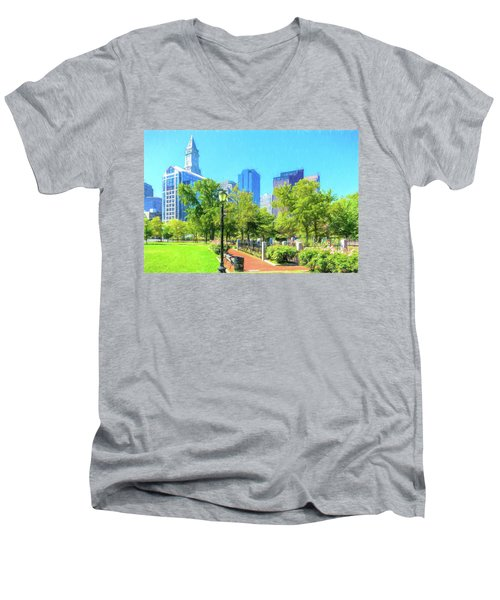 Boston Skyline From Columbus Park Men's V-Neck T-Shirt