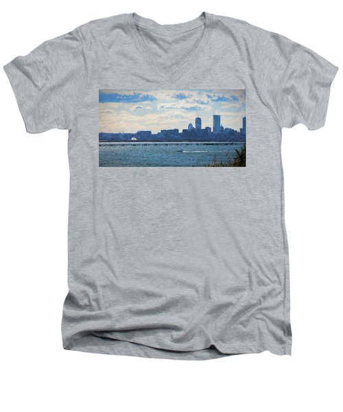 Boston Skyline From Deer Island Men's V-Neck T-Shirt