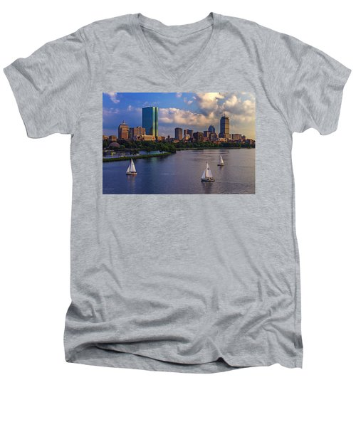 Boston Skyline Men's V-Neck T-Shirt