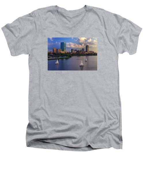 Boston Skyline Men's V-Neck T-Shirt by Rick Berk