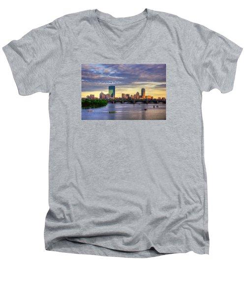 Boston Skyline Sunset Over Back Bay Men's V-Neck T-Shirt by Joann Vitali