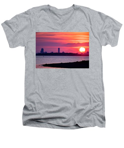 Boston Skyline Worlds End Men's V-Neck T-Shirt
