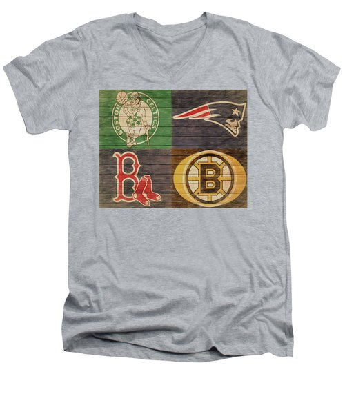 Boston Sports Teams Barn Door Men's V-Neck T-Shirt