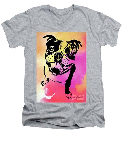 Boston Terrier Art By Nikki And Kaye Menner Men's V-Neck T-Shirt by Kaye Menner
