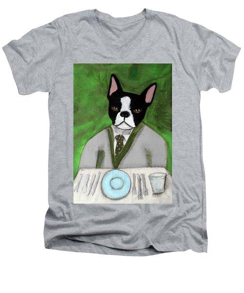 Boston Terrier At A Formal Dinner Men's V-Neck T-Shirt