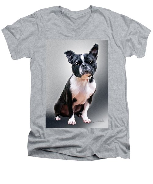 Boston Terrier By Spano Men's V-Neck T-Shirt by Michael Spano