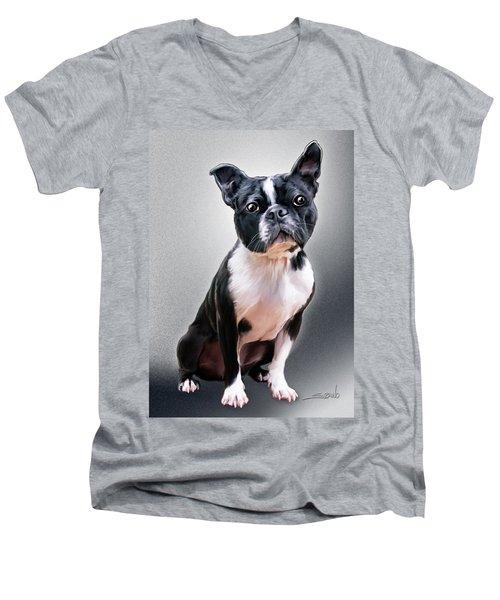 Boston Terrier By Spano Men's V-Neck T-Shirt