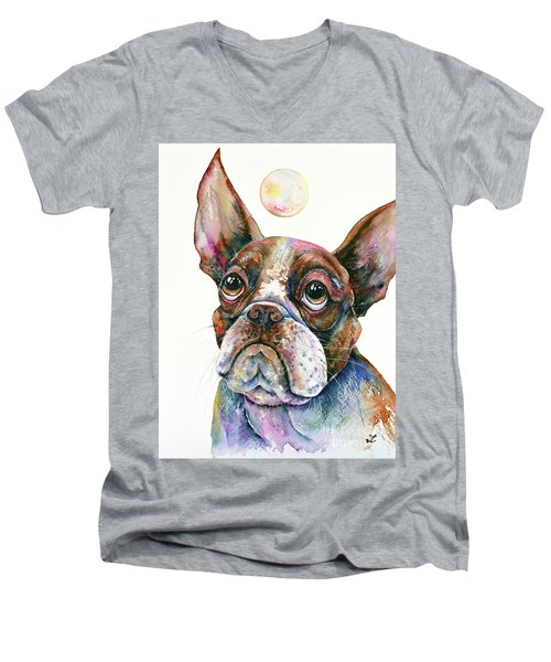 Men's V-Neck T-Shirt featuring the painting Boston Terrier Watching A Soap Bubble by Zaira Dzhaubaeva