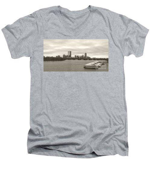 Boston View Men's V-Neck T-Shirt by Raymond Earley